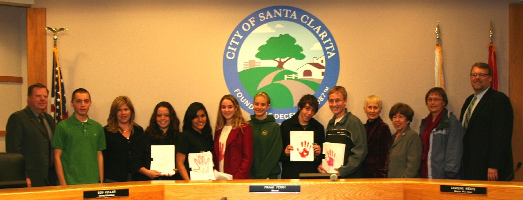 Mayor Frank Ferry and the Santa Clarita City Council with members of