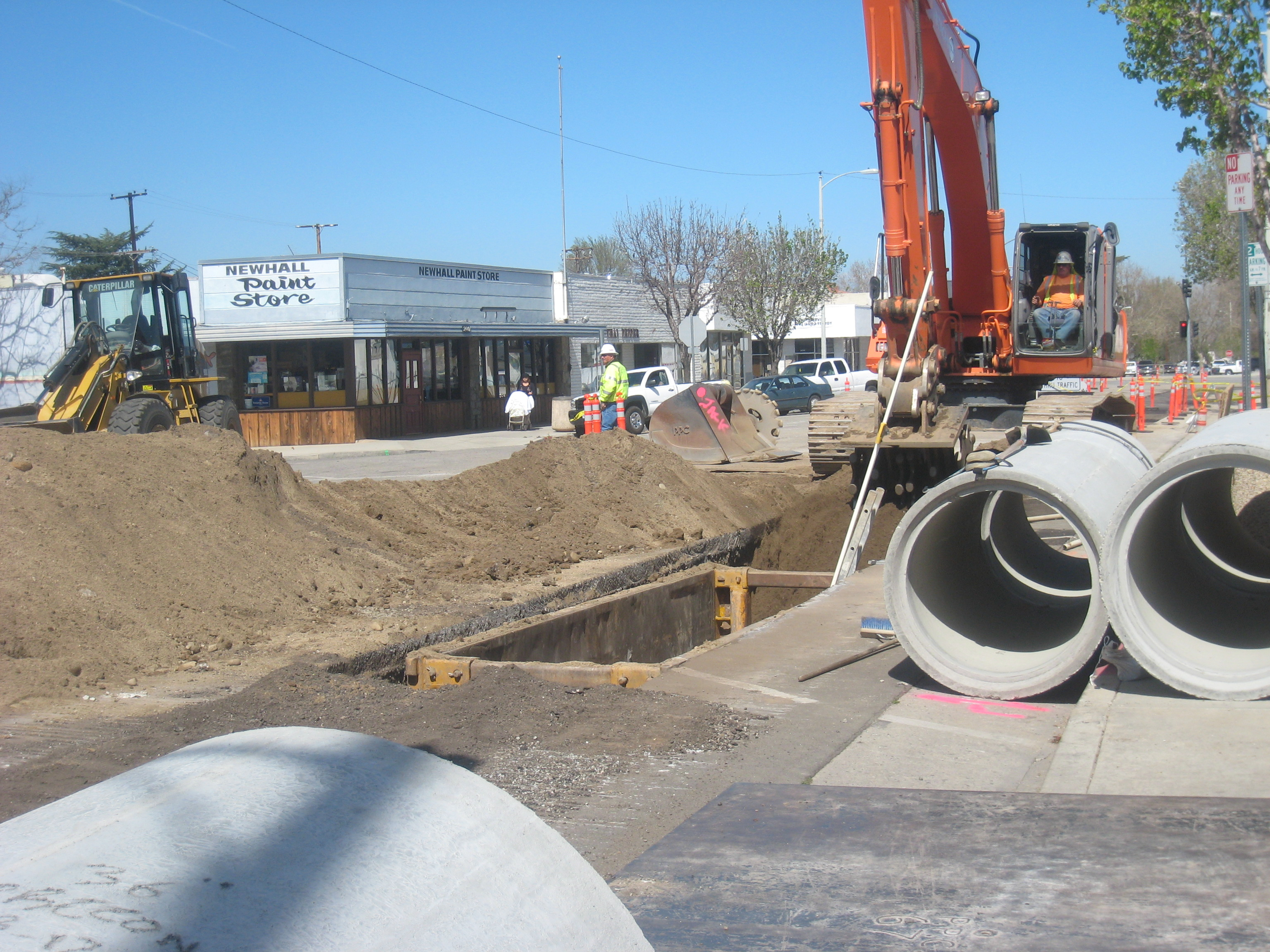 Construction has started in Old Town Newhall on a new streetscape.