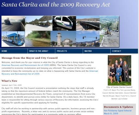 Residents and community members can closley follow what is happening in regards to the Recovery Act of 2009 over the next year.