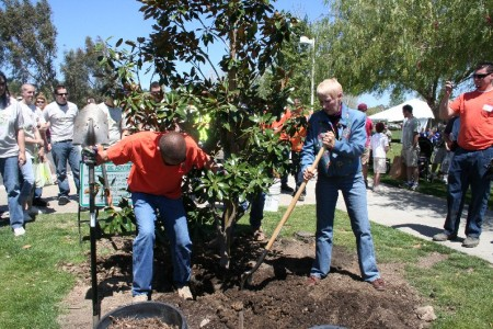 Mayor Pro Tem Laurene Weste joined Urban Forestry for a good old fashioned tree planting.