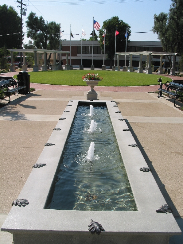 The Veteran's Historical Plaza is located in Newhall on Walnut Street.