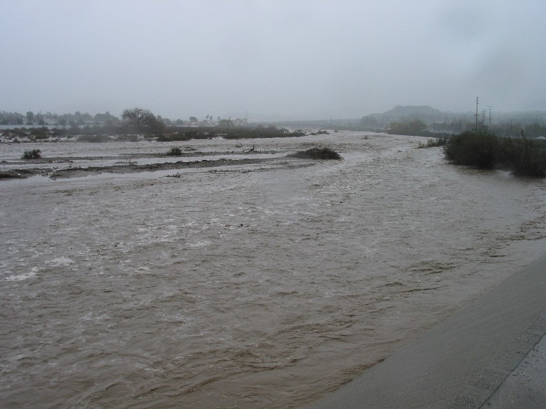 This picture was taken during the rain storms of 2005. The shot is of the swollen Santa Clarita River off of Soledad Canyon West of Camp Plenty