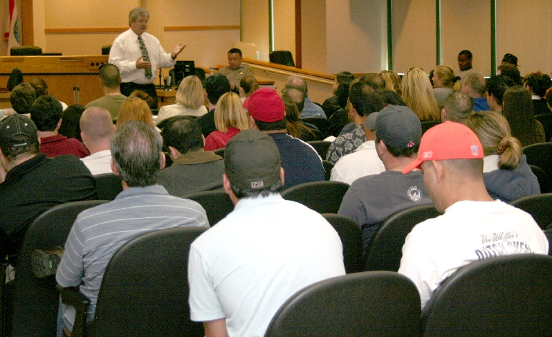 The City of Santa Clarita Sheriff's Business Alliance hosts periodic workshops to help businesses with everything from law changes to crime prevention. Picture above is a workshop held earlier regarding A.B.C. laws.