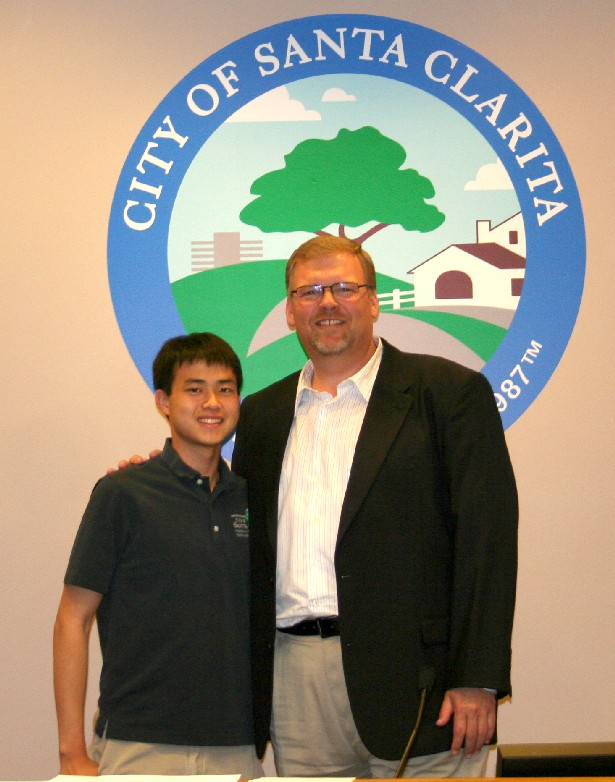 Elston He with Mayor Frank Ferry