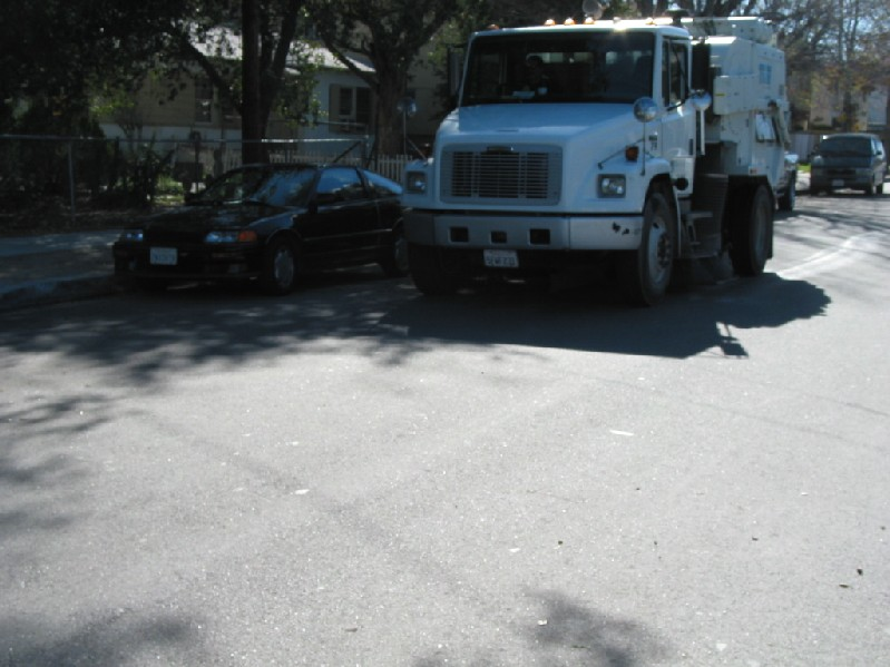 Pictured is street sweeping along Walnut in Newhall