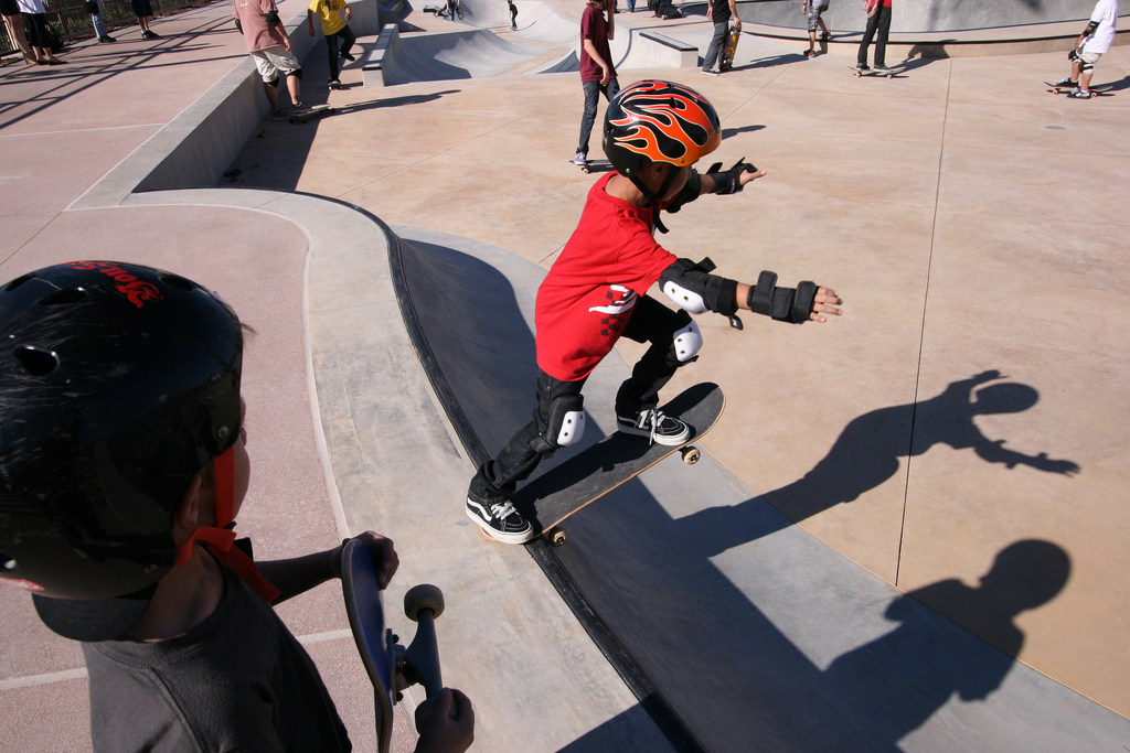 Pictured is young skater from the Skate Park grand opening in March