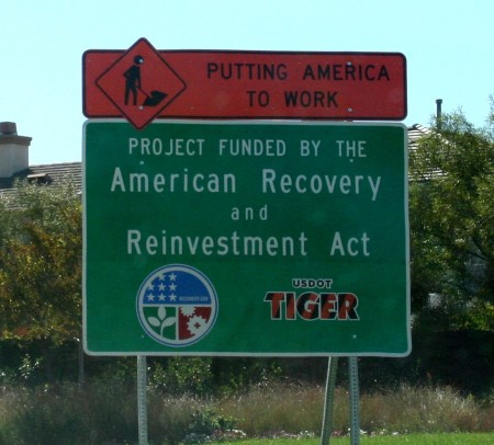 The road project is funded by the American Recovery and Reinvestment Act