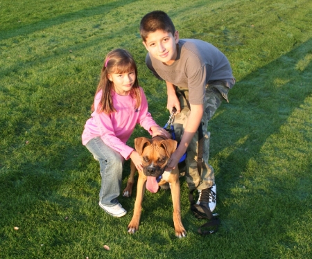kids and dog