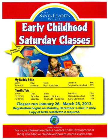 Early Childhood Saturday Classes Flyer