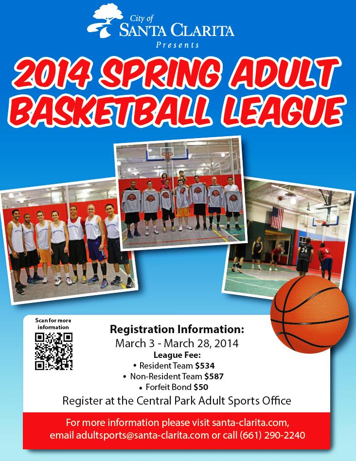 2014 Spring Adult Basketball League Flyer