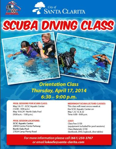 Scuba Diving Class Flyer 2014