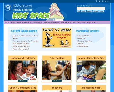 Kids' Space LIbrary website