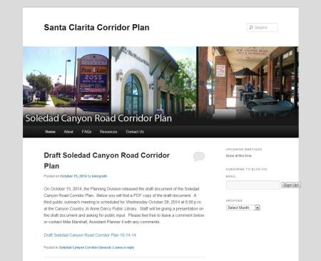 Soledad Corridor Plan Website