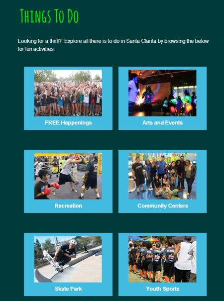 TeenSCV Things to Do page